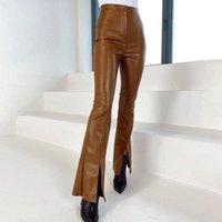 Women's Pants & Capris Novalya Solid Faux Leather Women Fashion High Waisted PU Trousers Elegant Split Full Length Female Ladies