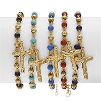 5 لون 18 سنتيمتر الرجال النساء المقاوم للصدأ سلسلة يسوع الصليب أساور الوردية أساور الذهب الخرزة سوار الأزياء والمجوهرات هدية للرجل 1178 b3