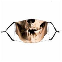 Máscaras de festa Engraçado Halloween Abóbora Crânio Crânio Imprimir Crianças Adutls Poeira Anti-Fog Máscara com PM2.5 Filtro Lavável Rhux
