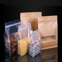 500 adet / grup 4 Stilleri Kraft Kağıt Şeffaf Buzlu Sekizgen Plastik Çanta Kare Alt Fermuar Kilit PE Kurutulmuş Meyve Pirinç Gıda Çantaları