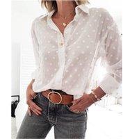Kadın Bluz Uzun Kollu Gömlek Tops Polka Dot Baskı Zarif Beyaz Ofis Bayan Chemise Kadın Şifon Şeffaf Giyim Kadın Bluzlar