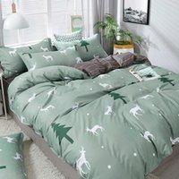مجموعات الفراش أزياء عيد الميلاد مجموعة ورقة حاف الغطاء المخدة مزيج الأخضر شجرة زهرة الوردي القلب السرير الكتان