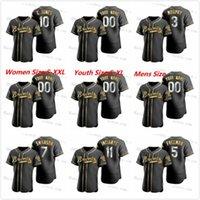 사용자 정의 Ronald Acuna Jr. Jerseys 2020-21 Golden Edition Jersey Black Dale Murphy Freddie Freeman Dansby Swanson Chipper Jones Almies Newcomb