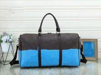 55cm Duffel Bags Mulheres Homens Sacos Nova Moda Saco de Viagem Duffle Saco Big Bagagem Bolsas De Couro Grande Tote Contraste Cor De Cor De Cor De Cor