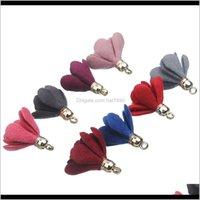 Jewelrykimter Charm Earring 20Pcs Bag Fabric Flower Cap Fringe Pendant Small Tassel Earrings Aessories Diy Handmade Jewelry Material G952F Dr
