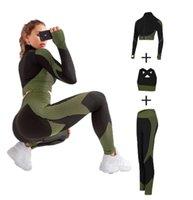 Mulheres sem costura yoga conjuntos 2021 3 pcs feminino zíper tracksuit manga longa + esporte sutiã + leggings esportes ternos fitness s-xl tamanho