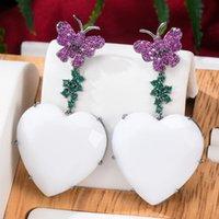 Dangle & Chandelier Missvikki Luxury Romantic LOVE Heart White Earrings For Women Wedding Party Crystal CZ Dubai Bridal Fashion Jewelry