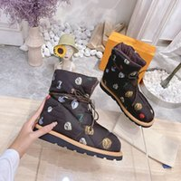 Women Pillow Comfort Ankle Boots Cacao Brown Monogram canvas down-filled boot Fashion Printed Greek and Roman Antiquity With Box 330