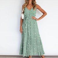 Casual Dresses Women Fashion Oversize Ladies Summer Sleeveless Printing Sling Dress Female V-neck Maxi Beach Ropa Mujer