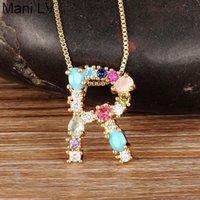 Nidin Mode Bunte Anfangsbuchstaben Halskette Multicolor Rainbow Gold Anhänger für Frauen Mädchen Hochzeit Geburtstagsgeschenke