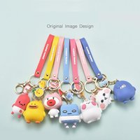 Creative Cute Animal Family Keychain Cartoom Duck Cloud Keyr...
