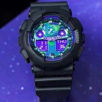 새로운 패션 투명 디지털 라운드 남자 100 시계 스포츠 방수 전자 시계 Reloj Mujer 시계 드롭 배송