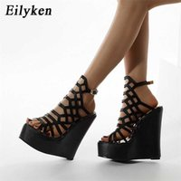 Eilyken Roman Donne Platform Sandals Sandali Fashion Hollow PU PU Peep Toe Ankle Fibbia Cinturino con tacchi a cuneo Lettino Dress Shoes 210619