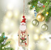 9 Designs Christmas Tree Pendant Christmas Pattern Wooden Hollow Snowflake Snowman Bell Hanging Decorations Colorful Home Festival DWD6808