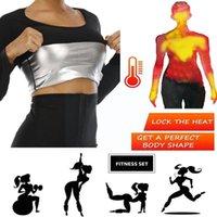 Women's Shapers Black Body Shaper Sweat Slimming Fat Burning Waist Panty Workout Shapewear Long Trainer Control Shirt Leggings Tops Sleeve X