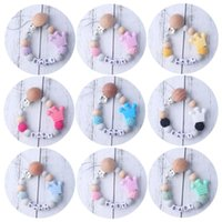 Pacifiers# Baby Wooden Teether Bracelet Food Grade Crown Beech Beads Chews Pacifier Clip Holder Silicone Chains Toys