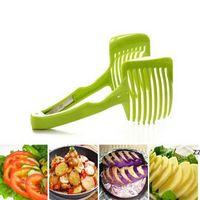 Plastic Tomaton Slicer Potato Cutter Shredders Fruit Vegetable Tool Onion Lemon Cutting Holder Kitchen Gadgets HWF10649