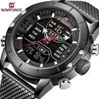 Mens watch top brand 9153 stopwatch LED sport military waterproof steelstrap wristwatch relogio masculino clock 210617