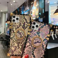 Luxury Animal Snake Skin Texture Square Phone Cases For iphone 12Pro Max SE XS xr 7 8 plus Vintage Ring Holder Soft Cover designer
