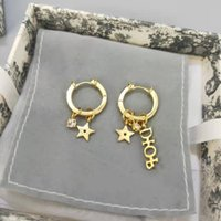 d Family 2021 New Pearl Stud Earrings High Edition Letter Pentagram Earrings Fashion Gift