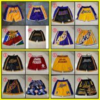 Hommes cousus losAngelesLakersBasketball Shorts Swingman Déclaration Pertinence Pantalon de survêtement Retro Just Don Pocket 2021