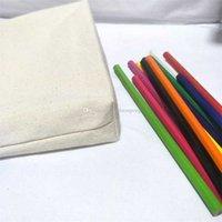 Borsa a matita in tela di cotone in bianco naturale 40pcs / lot con un ghesset sfoderato cosmetico