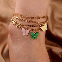 S2207 joyería de moda colorido mariposa tobillera conjunto estrellas cadena playa anklets 4pcs / set