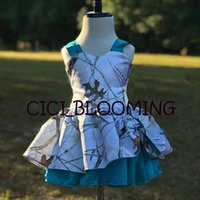CAMO Kids Wedding Gown Knee Lenght Flower Girls' Dresses White Printed