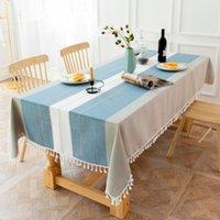 Accueil Linge à rayures Nappe en coton Tassel Protection Table Dîner Dîner Banquette Banquet Couverture Décorations Tissu