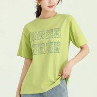 T-shirt Yaz Baskı Desen Kazak Yuvarlak Boyun Üst Alt Gömlek Taze Yeşil Rahat Gevşek Pamuk Kısa Kollu T-shirt Kadınlar Için