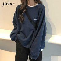 Jielur Kpop Letter Hoody moda coreana fina fina feminina camisolas Cool marinho azul mar hoodies para mulheres M-XXL 210728