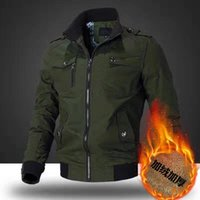 Men's Jackets 2021 Thick Warm Fashion Multi-pocket Parka Street Wear Solid Color Windbreaker Stand Collar Outdoors