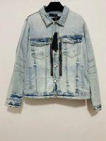 2021 Güz ve Kış Erkek Tasarımcı Fermuar Dekorasyon Demin Ceket ~ ABD Boyutu Ceketler ~ Erkekler için Yüksek Kaliteli Tasarımcı Demin Ceket