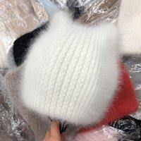 Beanie Skull Caps Designer Ear Wool Plush Hat, Ladies Angora Fur Knit, Double-Layer Warm Autumn And Winter Hedging