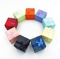 Boîtes Emballage Afficher bijouxWholesale 50 pcs / lot carré Bague Boucle d'oreille Collier Boîte à bijoux Cadeau Cadeau présent Présentoir Set W334 AYEPD PVVX