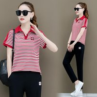Plus Size Tracksuits Striped Two Piece Sets Fashion Sports Summer 2021 Lapel Short Sleeved Trousers Cotton Womens Clothing