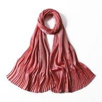 Hijabs medina silk Solider Color Shawls Headband Hijabs Scarves Scarf Pleated Crinkled Satin Wrap 46 COLOR For Choose