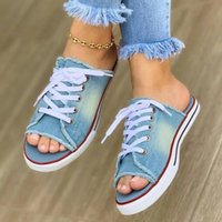 Slippers Women's Casual Female Fashion Denim Beach Shoes Plus Size Women Canvas Slipper Woman Lace Up Ladies Peep Toe Flat