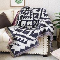 Geometrica marrone scuro Geometrico Coperta a doppio lato Asciugamano Asciugamano Full Cover Decorativo Casual Bed Spread BOHO Tappeto Coperte cuscino