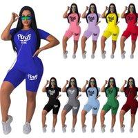 Kadın Tasarımcılar Giysileri 2021 Eşofman Yaz Yeni Moda Günlük Mektup Baskı Katı Renk Spor Suit Bayanlar 2 Parça Set Koşu Takımları