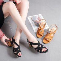 Sandals Open Toe Fashion Womens Shoes 2021 Block Heels Buckle Strap Female Sandal Espadrilles Platform Large Size Peep Luxury Chunky Com