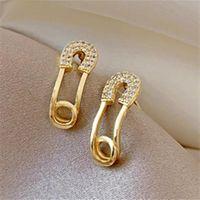 Stud Gold Women Jewelry For 2021 Design Piercing Pin Earrings S925 Silver Korean Zircon Inlay Diamond 925 Earring