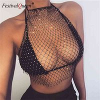 FestivalQueen Women Mesh Rhinestone Backless Crop Top Sexy Sleeveless Fish Net Diamond Hollow Out See Through Party Short Top 210401