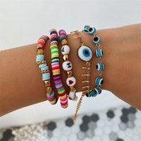 5pcs / Set Blue Evil Eye Charm Bracelets pour femmes Rainbow Lettre Perles Bracelet Ensemble Bijoux de mode1 798 Q2