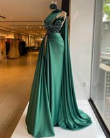 2021 Hunter Green Evening Dresses one shoulder Sequins stain Slim high Side Split Pleats Prom Gowns Beaded Feather Party Dress