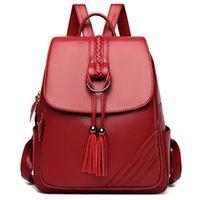 Fashion Tassel Women Backpacks Female Shoulder Bag School Bags for Teenage Girls Designer Leather Women Travel Backpack Mochila