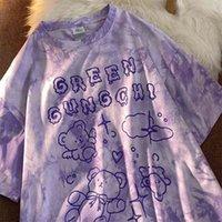 Algodón lindo oso tshirt streetwear verano camiseta de gran tamaño mujeres harajuku manga corta tops tops tee hip hop corbata thirt thirt divertido 210406