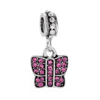 Fits Pandora Bracelets 20pcs Butterfly Crystal Dangle Pendant Silver Charms Fits pandora Charms Bracelet Beads For Jewelry Making 925 Sterling Silver Charms