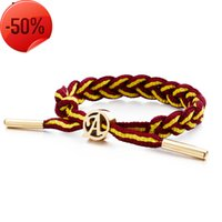 New knitting hand rope Basketball Shoes Fashion Sports Wristband lovers Bracelet Stainless Steel Men's