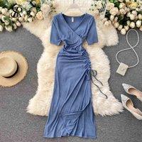 Casual Dresses Singrain vestido feminino de verão com cordão, curto, manga curta, gola v, sexy, festa coreano, liso, streetwear X0KK